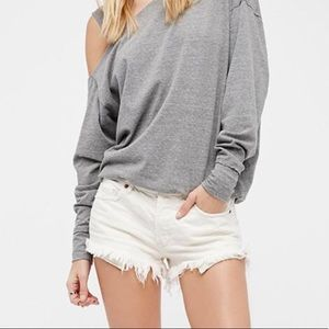 Free People Soft & Relaxed White Cutoff Shorts